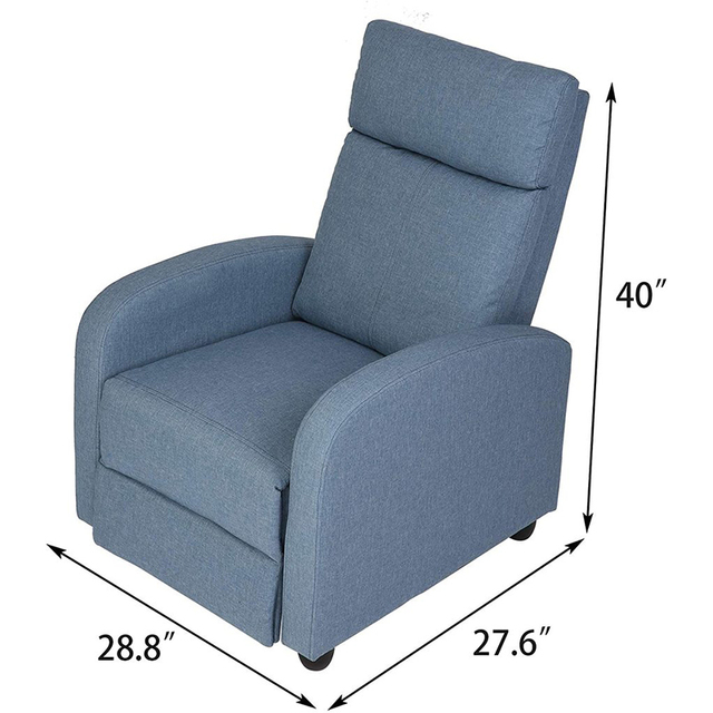Fabric Recliner Chair Adjustable Single Sofa Home Theater Seating Recliner Reading Sofa for Living Room & Bedroom Red Gray Blue 2