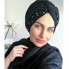 2020 New muslim stretch jersey turban hijab soft cotton turban caps women head scarf wraps pearls turbante mujer india hat