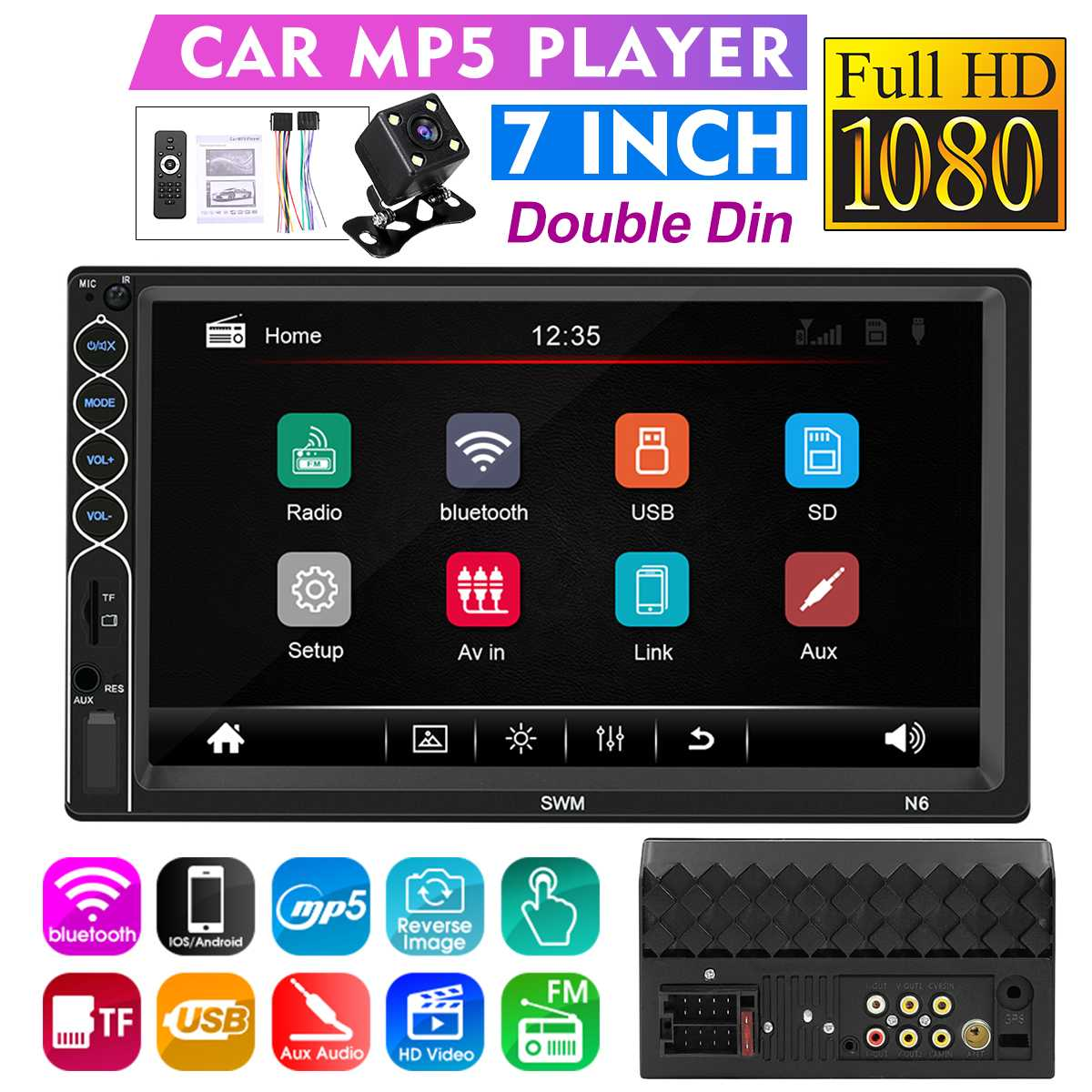 """7"""" HD 2 din Android 8.1 IOS Car Multimedia Player Car Radio Recorder Central Autoradio Touch Screen MP5 FM LED Rear View Camera"""