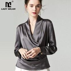 100% чистый шелк Женские рубашки сексуальный v-образный вырез с длинными рукавами крест-накрест Элегантная модная блузка рубашка Топ