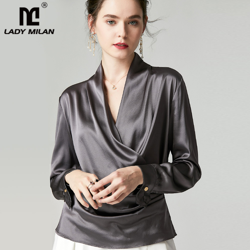 100% Pure Silk Women's Shirts Sexy V Neck Long Sleeves Criss Cross Elegant Fashion Blouse Shirt Top