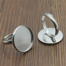20pcs 8~20mm Inner Size Ring Settings Stainless Steel Material Simple Adjustable Ring Setting Base For Jewelry Making