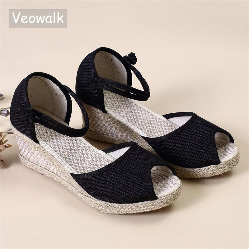Veowalk Handmade Women Plain Linen Peep Toe Sandals Wedge Espadrilles Platform 5cm Heel Comfort Bohemian Ladies Summer Shoes