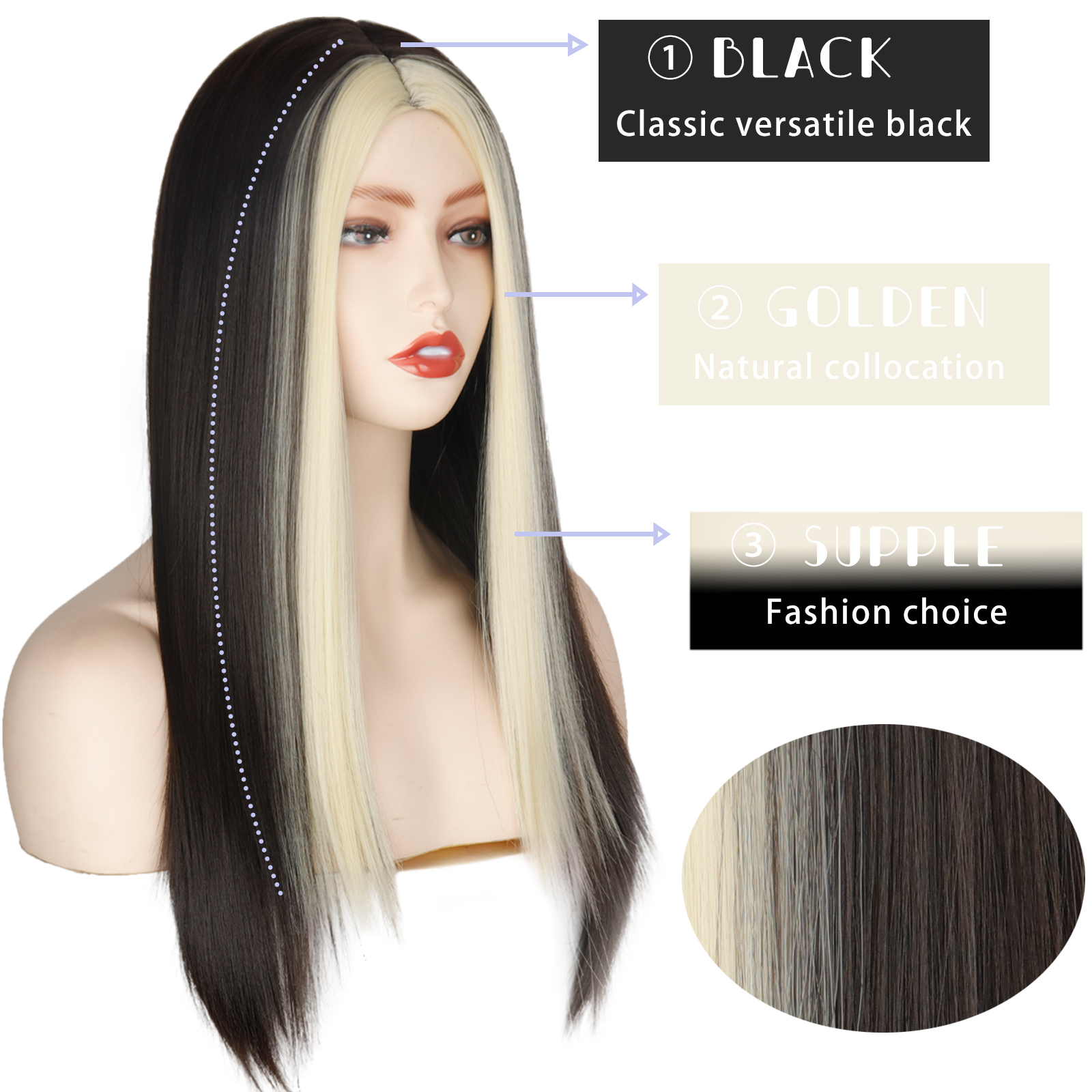 Black Long Straight Wig For Women Both sides Gold Hair Middle Part Heat Resistant Wavy Cosplay Wig For Girl
