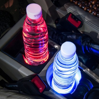 Universal Solar LED Car Cup Holder Mat Anti Slip Waterproof Pad Bottle Drinks Coaster Atmosphere Lamp for Car SUV Truck image