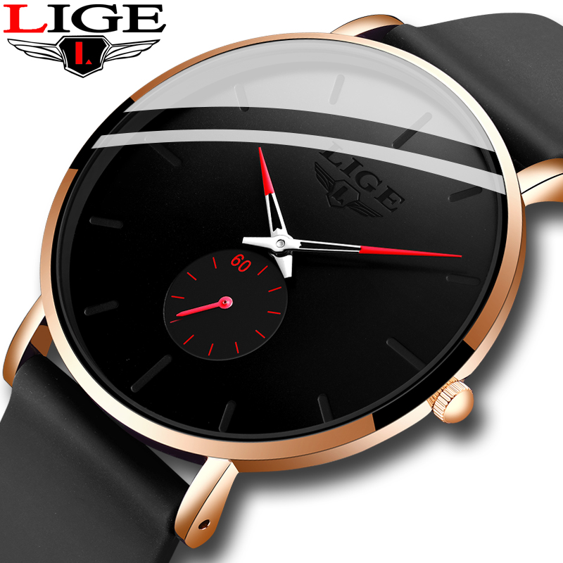 2020 LIGE New Mens Watches Top Brand Luxury Ultra-thin Silicone Watch Mens Quartz Wrist Watch Waterproof Clock Relogio Masculino