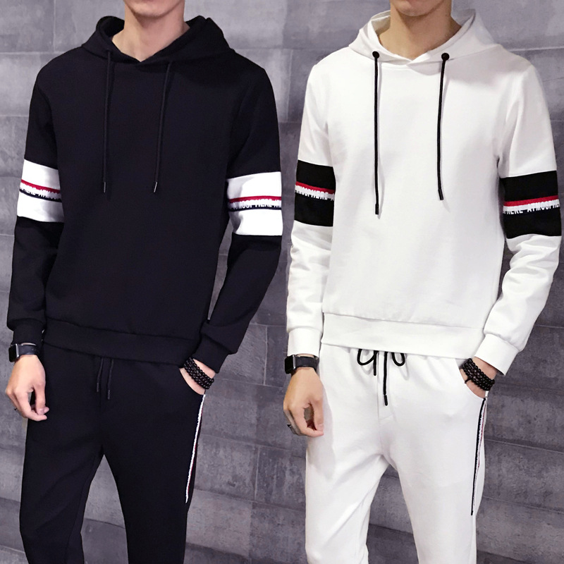 Spring And Autumn MEN'S Long-sleeved T-shirt Casual Slip-Set Clothes Handsome Korean-style 2019 New Style Teenager Inflooring Li