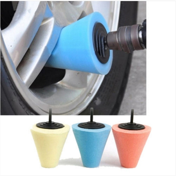 3 Inch Burnishing Foam Sponge Polishing Pad Car Polisher Tyres Cone-shape Wheel Hubs Disk Brush Car Cleaning Brushes image