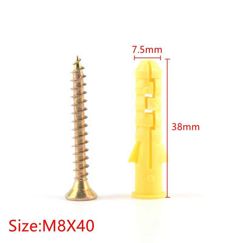 M8x38mm Plastic Aircraft Expansion Screws Kit Heavy Duty Wall Anchor for Closets,Lighter Ceiling Cabinets,Pendants,Brackets,50PCS