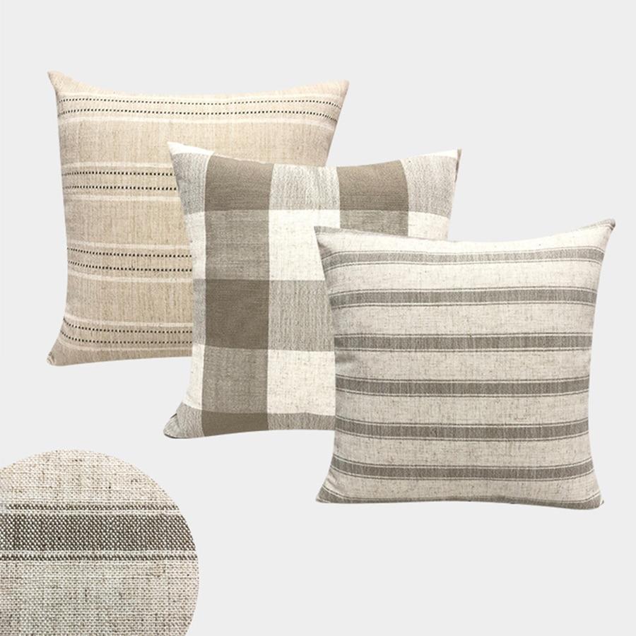 Linen Decorative Pillows Case Plain Stripe Square Grid Modern Simple Geometric Couch Sofa Cushion Cover Home Decor Living Room