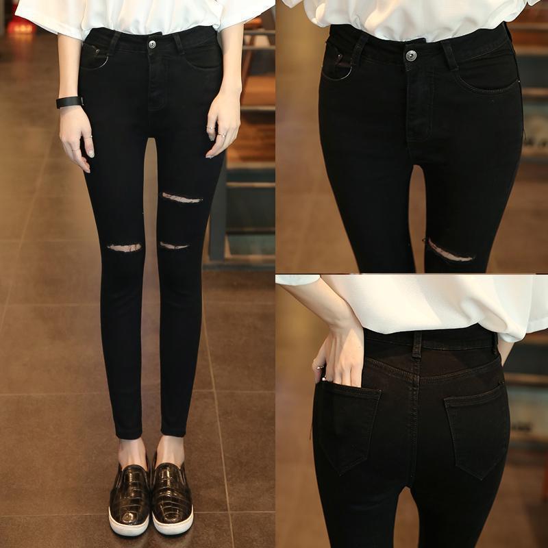 2018 Summer Trending Cowboy Korean-style Black Ripped Jeans WOMEN'S Ninth Pants Elasticity Slim Fit Trend Skinny Pants