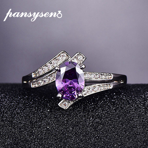 PANSYSEN 925 Sterling Silver Rings Female Amethyst Engagement Wedding Band Bridal Vintage Gemstone Ring For Women Fine Jewelry(China)
