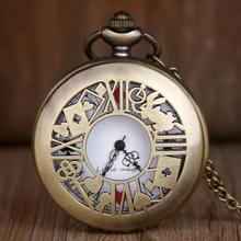 Новинка, бронзовые кварцевые карманные часы, ретро стиль, Алиса в стране чудес, карманные часы и брелок, кулон, ожерелье, карманные часы для мужчин и женщин, подарок, TD2073
