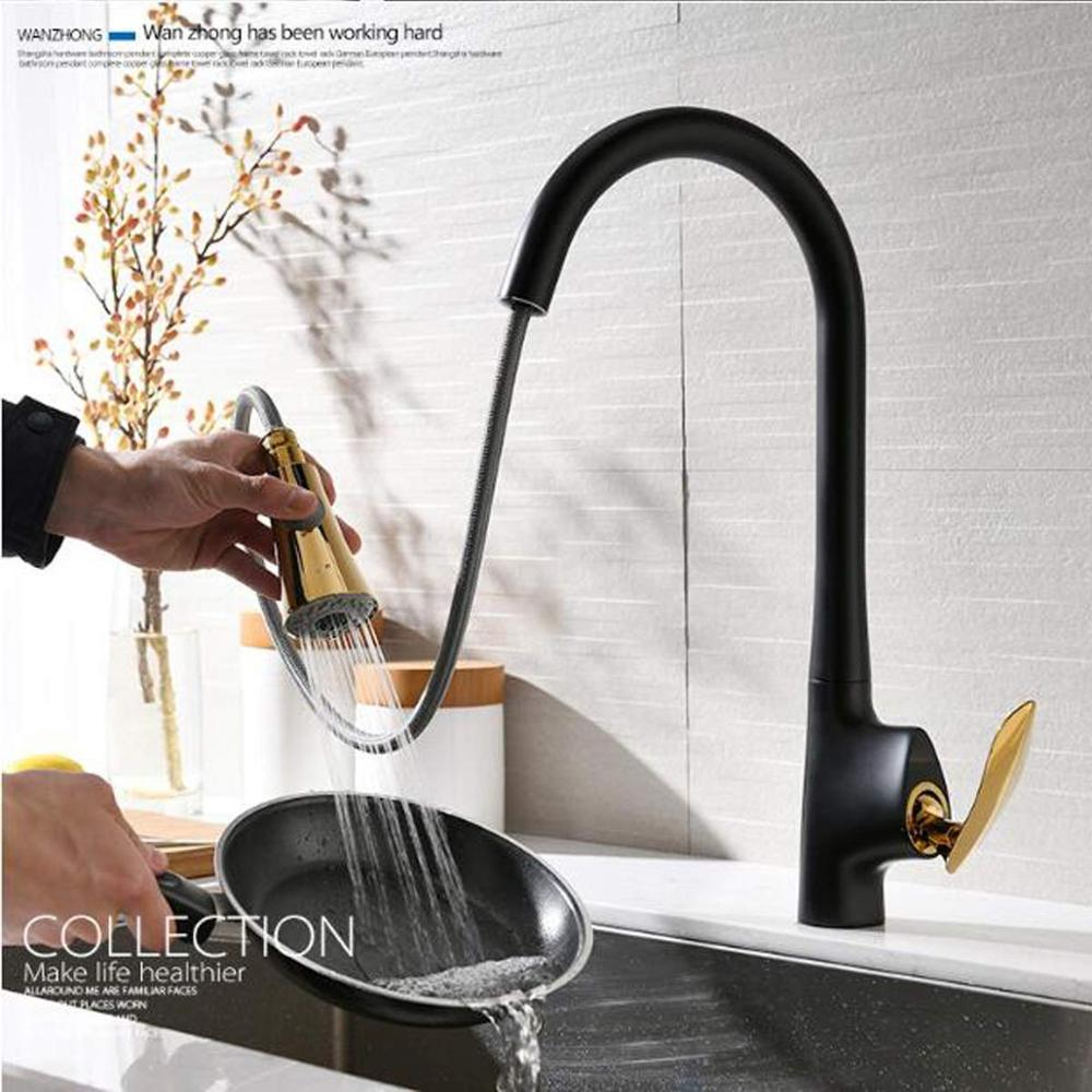 Kitchen Faucets Silver Single Handle Pull Out Kitchen Tap Single Hole Handle Swivel 360 Degree Water Mixer Tap Mixer Tap 866083