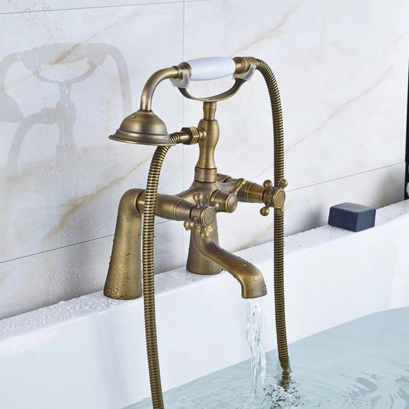 retro antique brass double cross handles deck mounted bathroom clawfoot bathtub tub faucet mixer tap w hand shower aan023