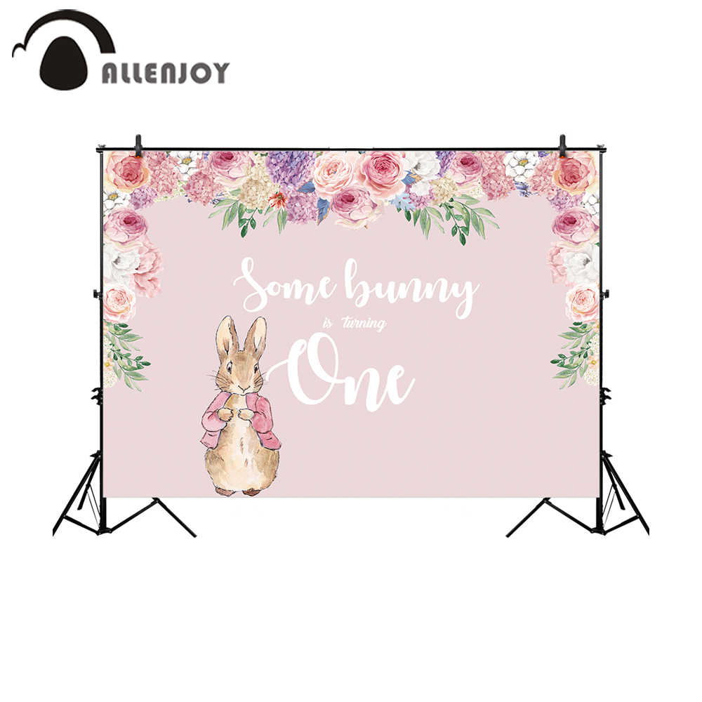 New Easter Bunny Birthday Backdrop Spring Bunny First Birthday Background 7x5ft Rabbit 1st Birthday Floral Backdrops Banner
