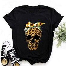 Female Harajuku Casual Tops Tee Summer Cool Leopard Skull Graphic Printed Black T-shirt Women Fashion Short Sleeve Tshirts