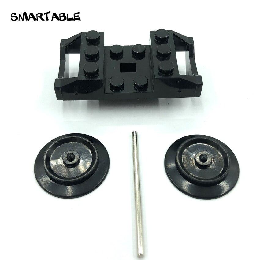 Smartable Train Wheel Base +Wheel+Iron Bar MOC Part Building Block Toy Compatible Major Brands City Train 2878/57051 4lot/set