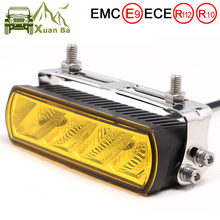 Barra de luz LED de obra ámbar de 6 pulgadas y 20W, luces antiniebla para camiones todoterreno, barco, ATV, 4x4, 4WD, Barra de conducción de remolque marino