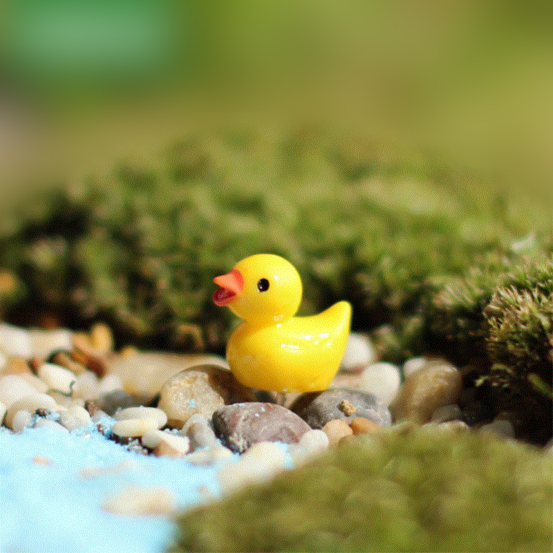10pcs/pack Cute Small Yellow Duck Mini Resin Fairy Garden Figurines Pots Miniature 1.8*1.5CM