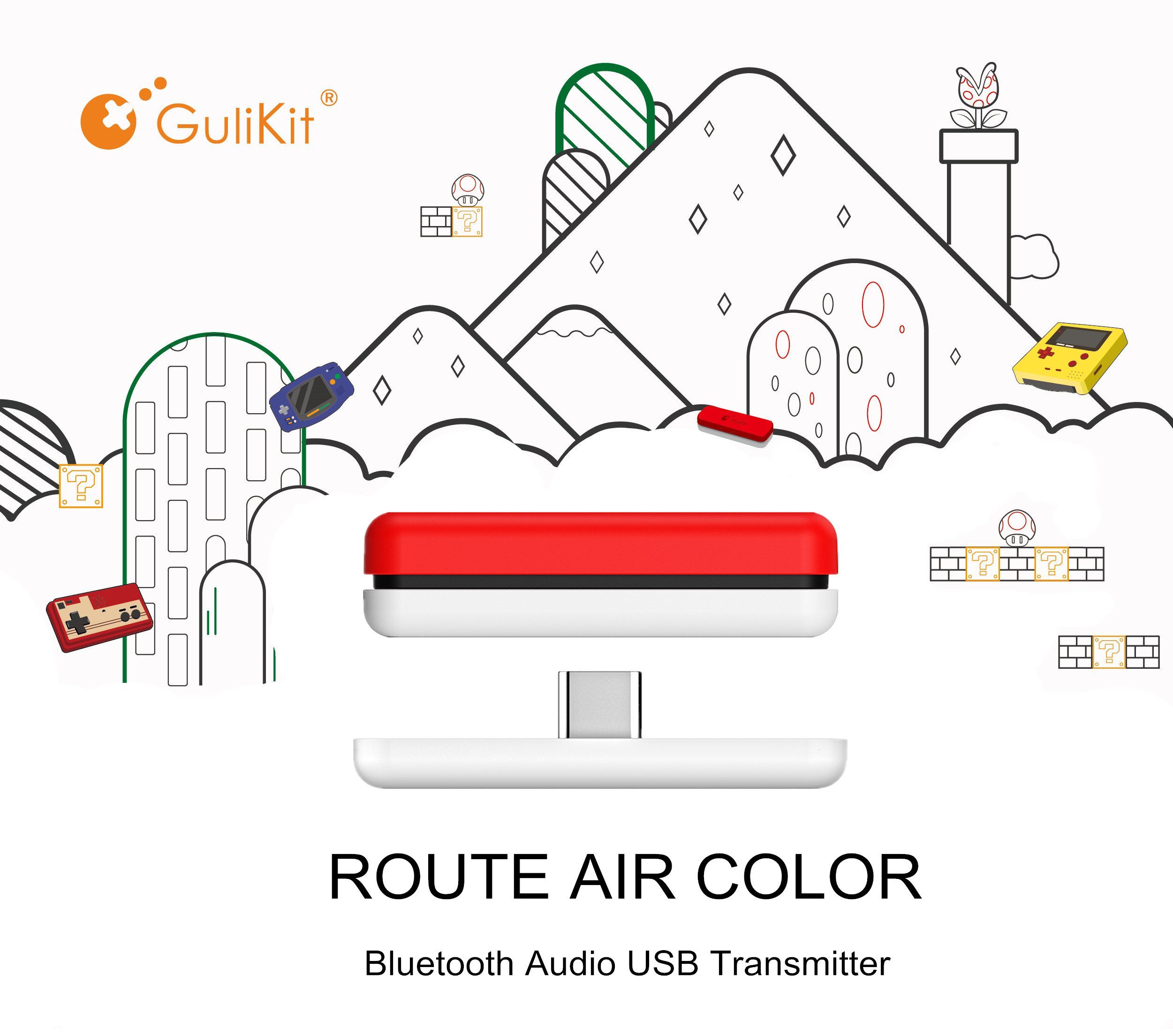 GuliKit NS07 Route Air Color Wireless Audio Transmitter Bluetooth USB C Transceiver Adapter For Nintendo Switch/Switch Lite/PS4 title=