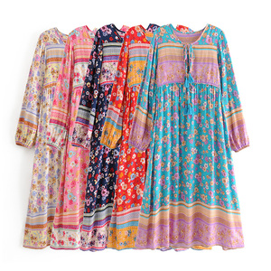 Image 5 - Vintage Chic women flare sleeve purple Floral print beach Bohemian v neck Maxi dress Ladies rayon Summer Boho dress