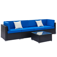 【US Warehouse】Fully Equipped Weaving Rattan Sofa Set with 2 Corner Sofas & 2 Single Sofas & 1 Coffee Table (Outdoor rattan sofa)|Garden Sofas| |  -