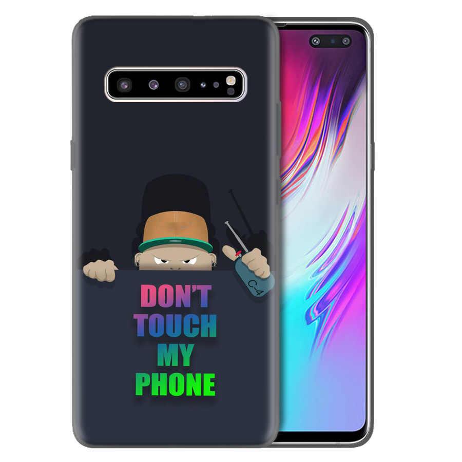 シリコンケースカバー三星銀河 S10 S10e 5 グラム S9 S8 J8 J6 J4 プラス 2018 M40 M30 M20 m10 S10 + S9 + ないいけないタッチ私電話