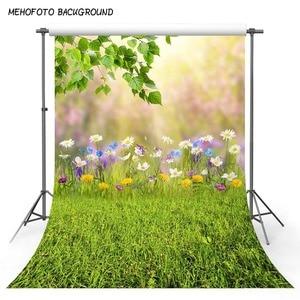 Image 2 - Mehofond الربيع الأخضر العشب الطبيعي مشهد خلفية فراشة زهرة الطفل صورة التصوير خلفية الصورة استوديو الدعائم