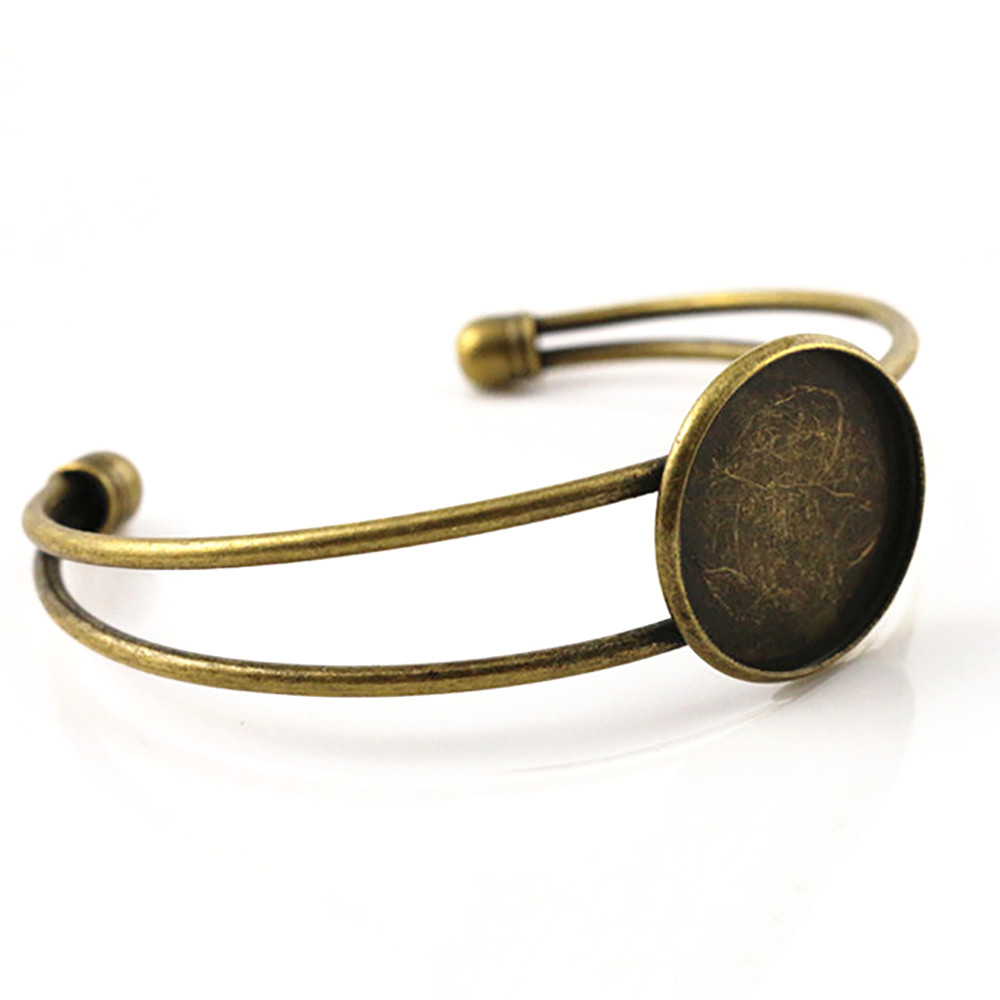 High Quality  20mm Bronze Plated Bangle Base Bracelet Blank Findings Tray Bezel Setting Cabochon Cameo (L1-24)