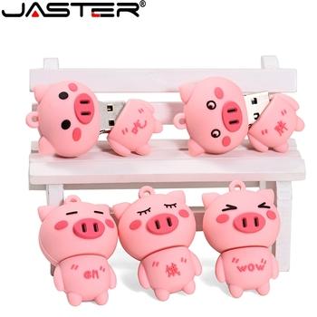 Cartoon śliczna świnka USB 2 0 Flash Drive 4G 8GB 16GB 32GB 64GB 128G prezenty dla uczniów pen-drivy 100 prawdziwa pojemność pendrive U Disk tanie i dobre opinie JASTER CN (pochodzenie) Silikon Kreatywny Zwierząt 2018 rok