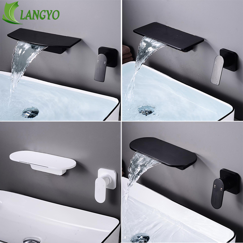 LANGYO Wall-Mount Basin Faucet Mixer Waterfall Bathroom Sink Faucet Large Shelf Platform Matte Black&White Mixer Quality Tap