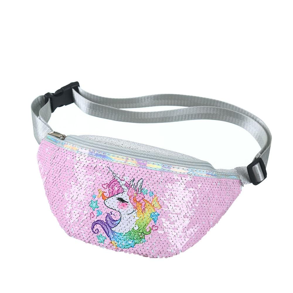 Children Unicorn Waist Bag Cartoon Fanny Pack Kids Phone Chest Bag Baby Girls Belt Bag Cute Sequins Waist Packs