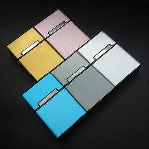 1PC Candy Color Cigarette Case Fashion Aluminum 20 PCS Cigarettes Capacity Cigarettes Case Magnetic Buckle Tobacco Box Women Men