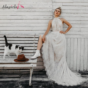 Sexy Transparent Wedding Dress Boho Halter Sleeveless Open Back Vestidos 2020 Ruched Crochet Tulle Bridal Dress spot print knot back halter dress
