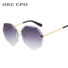 OEC CPO Square Rimless Sunglasses Women Brand Designer Rhinestone Polygon Ladies Trimming Irregular O216