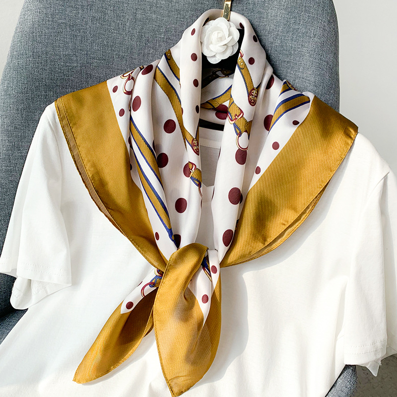 Luxury Kerchief Silk Satin Bandana Head Scarf For Women Fashion Dot Print Hair Scarfs Female 70*70cm Headband Scaves For Ladies
