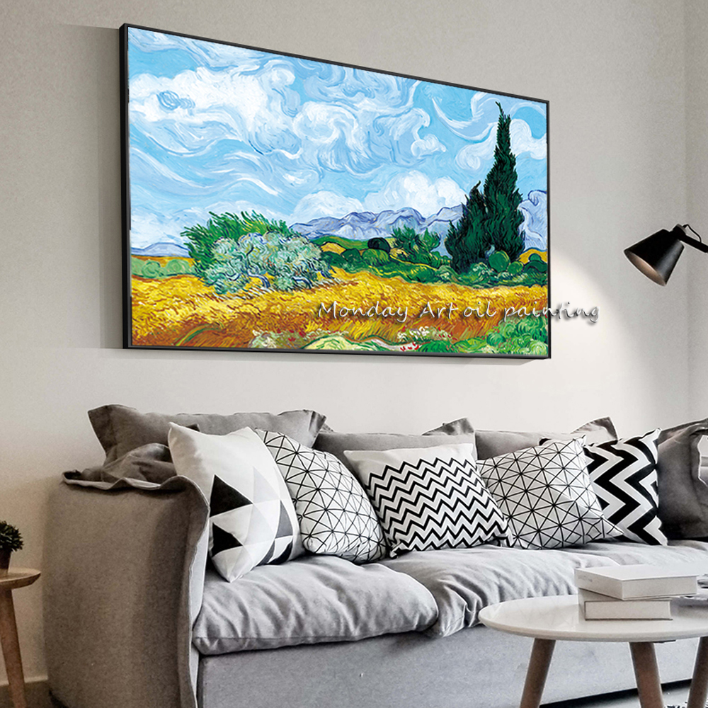 AA Wheatfield-With-Cypresses-By-Van-Gogh-Painting-Replica-On-The-Wall-Impressionist-Landscape-Wall-Art-Canvas副本