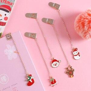 Kawaii Санта Клаус Рождественская елка Лось металлическая подвеска Закладка милые закладки для книг бумажный зажим школьные офисные принадле...