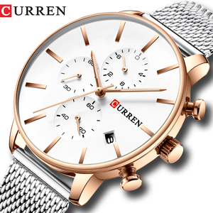 Image 1 - CURREN 메쉬 스트랩 스테인레스 스틸 쿼츠 시계 남성 캐주얼 남성 시계 크로노 그래프 및 자동 날짜 손목 시계 Reloj Hombre