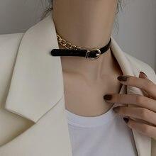 Collier en cuir et métal pour femmes, chaîne ras du cou, Design de personnalité, haute couture, Bracelet réglable, fermoir en cuir de Vachette