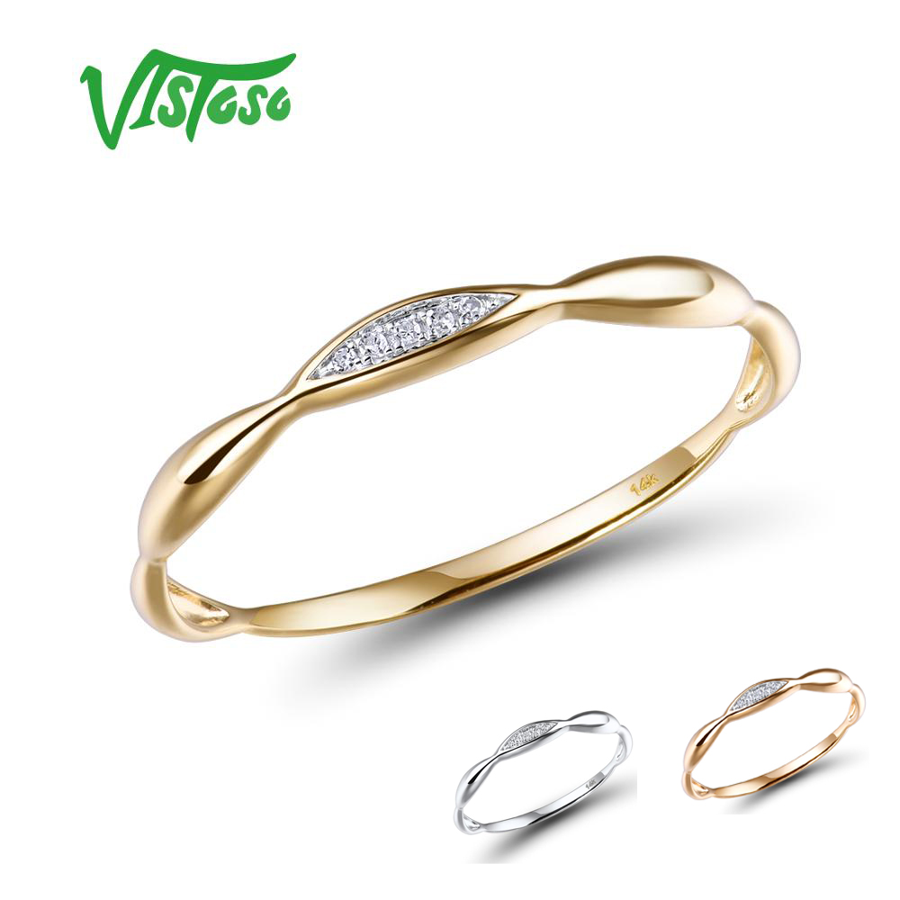 VISTOSO Gold Rings For Women Genuine 14K Yellow/White Gold Ring Shiny Diamond Promise Engagement Rings Anniversary Fine Jewelry