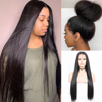 Charisma Long Straight Hair Natural Color Pre Plucked Full Lace Wig Middle Part Synthetic Wigs for Black Women