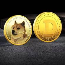 WOW Gold Plated Dogecoin Commemorative Coins Cute Dog Pattern Dog Souvenir Collection Gifts Gold Bitcoin Coin With Acrylic Case