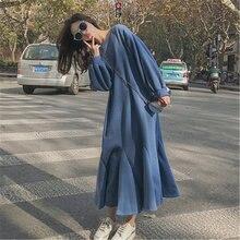 Женское Свободное длинное плотное платье свитер осенне зимнее