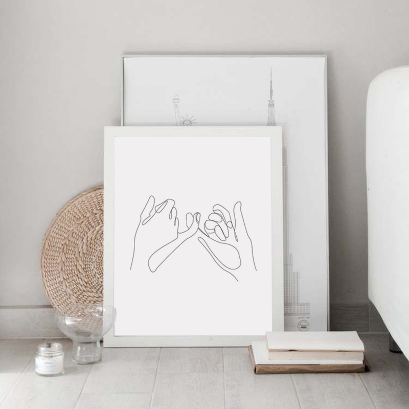 Pinky Swear Continuous One Lines Drawing Print Home Wall Decoration