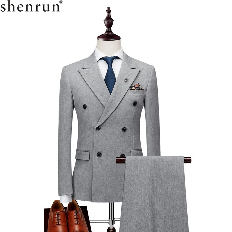 Shenrun Men Suits Slim Business Office Work Party Wedding Groom Tuxedo Stage Banquet Evening Dinner Double Breasted Six Buttons