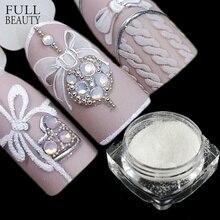 1 box cukier cukierki płaszcz brokat paznokci Pigment zanurzenie w proszku Laser biały paznokci dekoracje artystyczne pył paznokci Glitter płatek CHTY0105 1