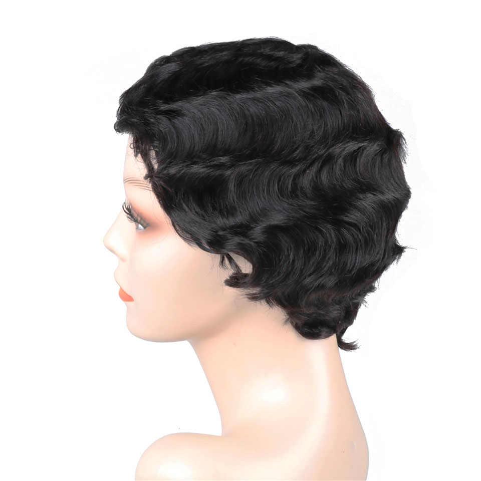 Ucuz insan saçı peruk kısa peruk siyah kadınlar için brezilyalı Pixie kesim peruk 8 inç parmak dalga olmayan Remy ücretsiz kargo vrvogue