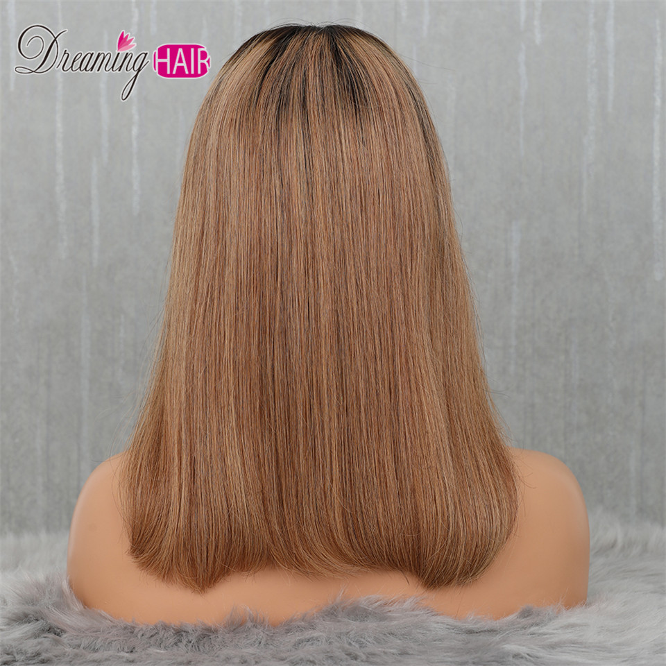 Heb44918c402c42ec904f4cb4fac56776j 613 Short Cut 13X4 Bob Lace Front Human Hair Wig with Bangs Honey Blonde Color Transparent Lace Front Wigs For White Woman
